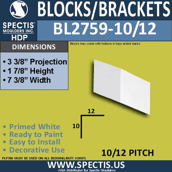 "BL2759-10/12 Pitch Eave Bracket 7.29""W x 1.7""H x 3.4"" P"
