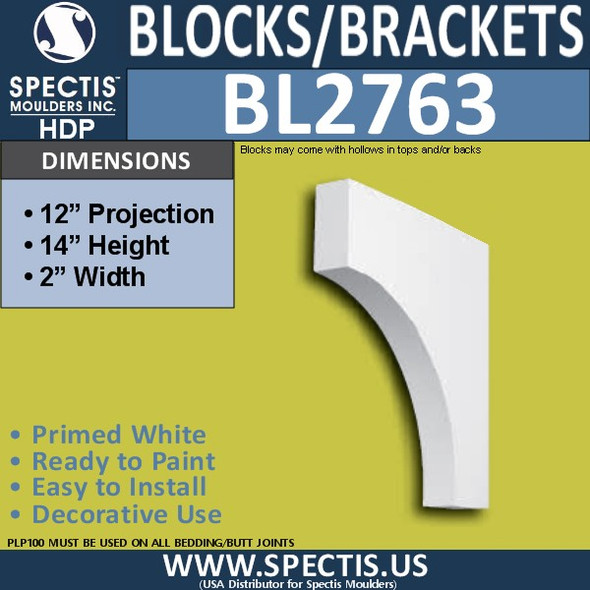 "BL2763 Eave Block or Bracket 2""W x 14""H x 12"" P"