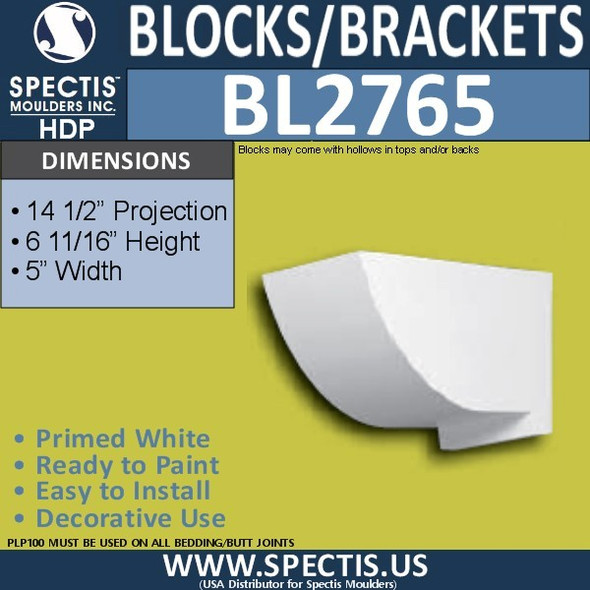 "BL2765 Eave Block or Bracket 5""W x 6.5""H x 14.5"" P"