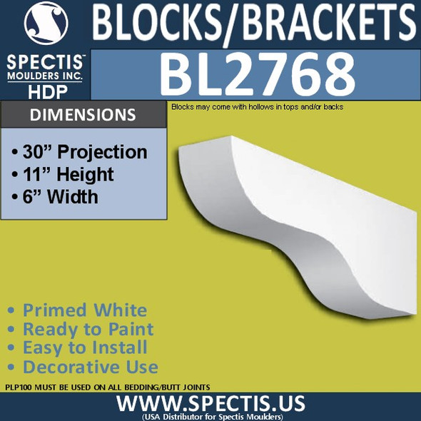 "BL2768 Eave Block or Bracket 6""W x 11""H x 30"" P"