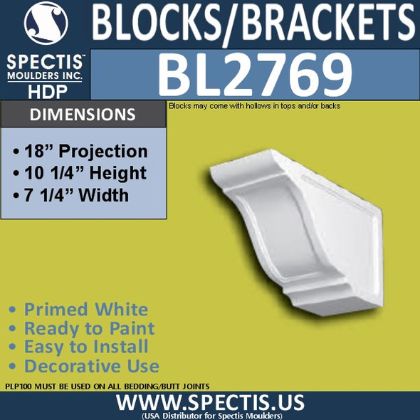 "BL2769 Eave Block or Bracket 7.25""W x 10.25""H x 18.25"" P"