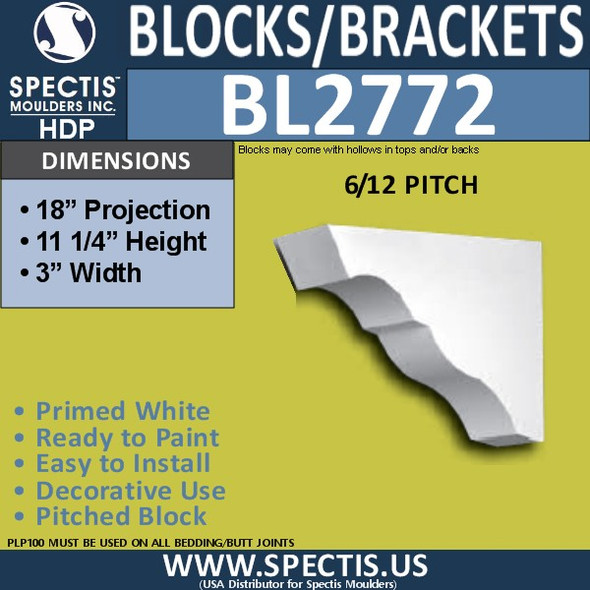 "BL2772 Eave Block or Bracket 3""W x 11.25""H x 18"" P"