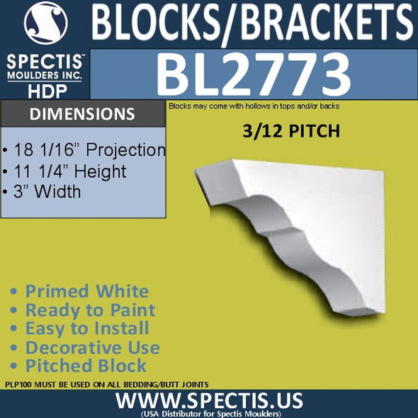 "BL2773 Eave Block or Bracket 3""W x 11.25""H x 18"" P"