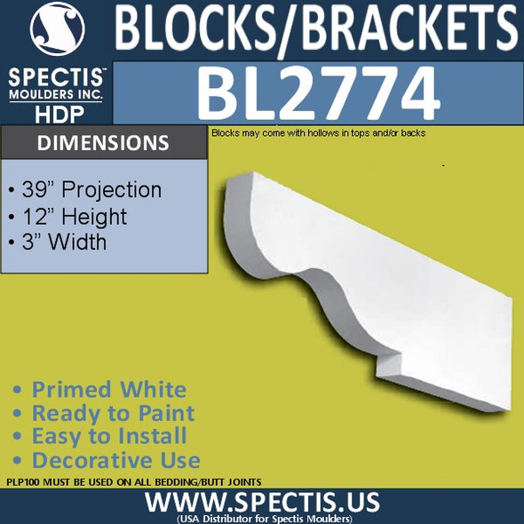 "BL2774 Eave Block or Bracket 3""W x 12""H x 38"" P"