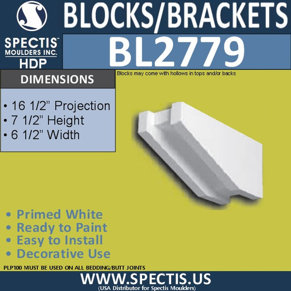 "BL2779 Eave Block or Bracket 6.5""W x 7.5""H x 16.5"" P"