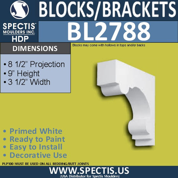 "BL2788 Eave Block or Bracket 3.5""W x 9""H x 8.5"" P"