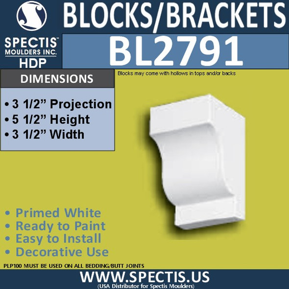 "BL2791 Eave Block or Bracket 3.5""W x 5.5""H x 3.5"" P"