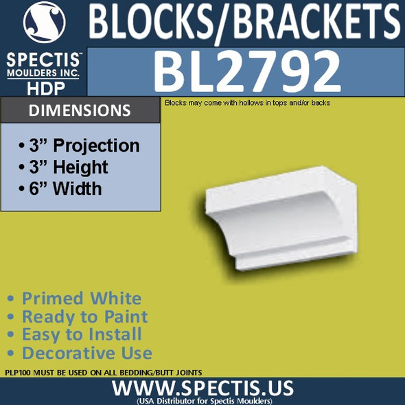 "BL2792 Eave Block or Bracket 6""W x 3""H x 3"" P"