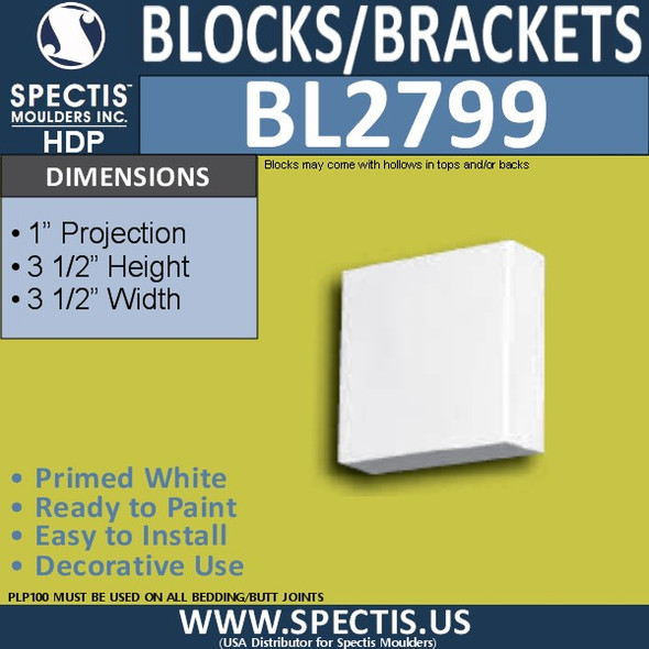 "BL2799 Eave Block or Bracket 3.5""W x 3.5""H x 1"" P"