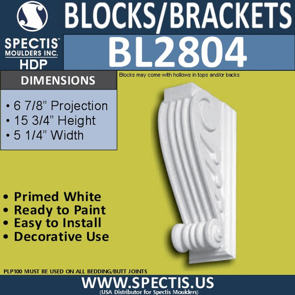 "BL2804 Eave Block or Bracket 4""W x 16""H x 6.5"" P"