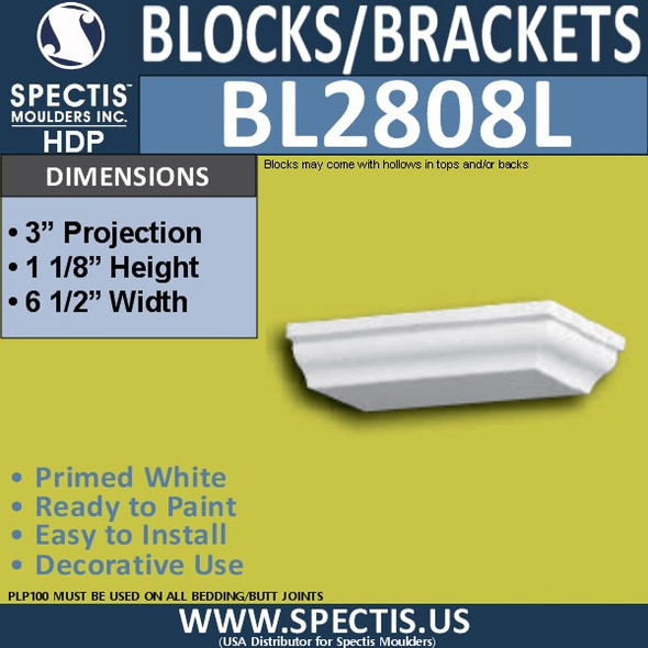 "BL2808L Left Eave Block or Bracket 6.5""W x 1.13""H x 3"" P"