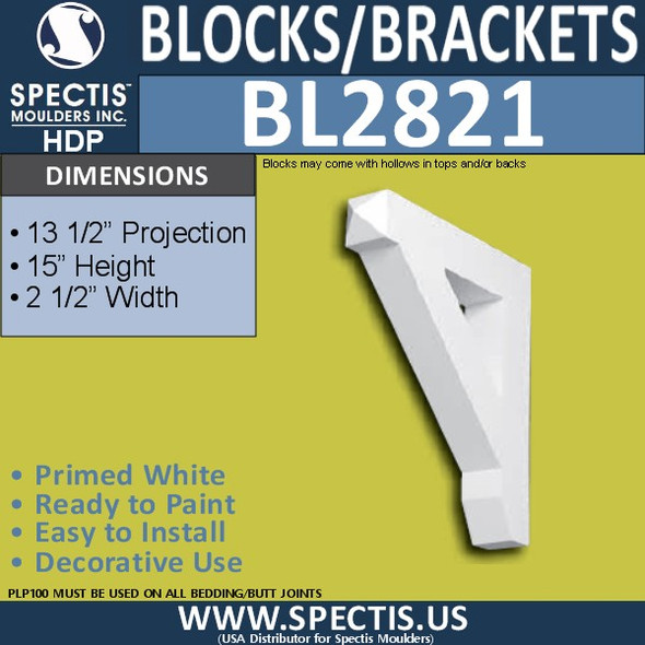 "BL2821 Eave Block or Bracket 2.5""W x 15""H x 13.5"" P"