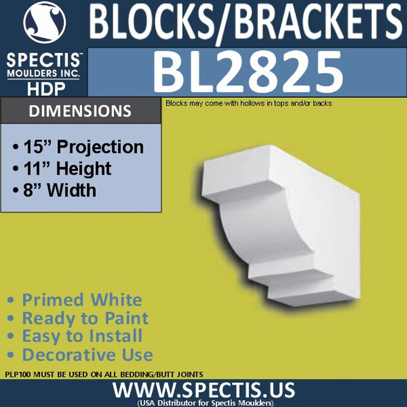 "BL2825 Eave Block or Bracket 8""W x 11""H x 15"" P"