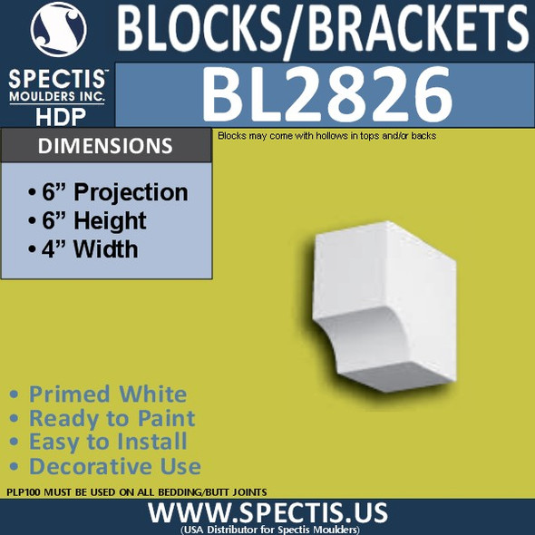 "BL2826 Eave Block or Bracket 4""W x 6""H x 6"" P"