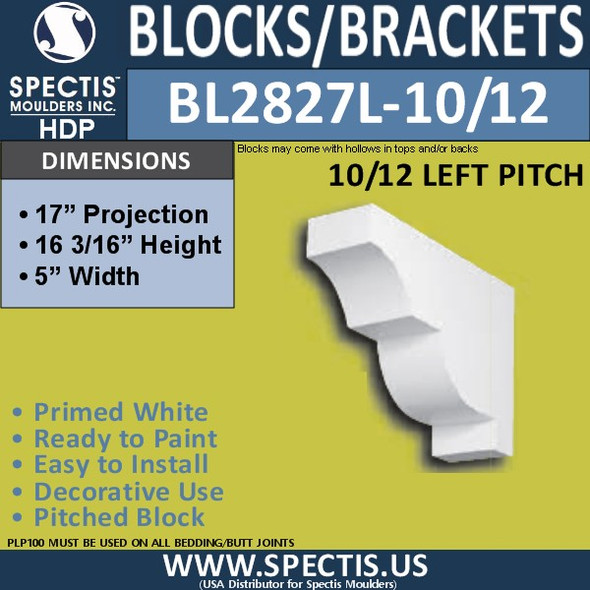 "BL2827L-10/12 Pitch Eave Bracket 5""W x 16.25""H x 17"" P"