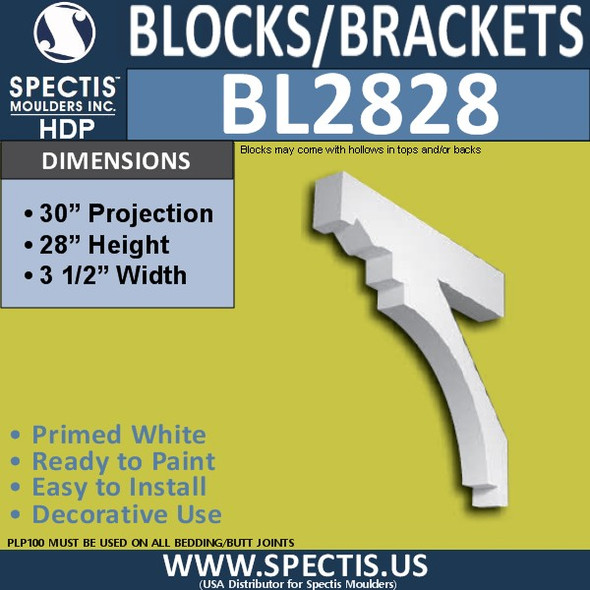 "BL2828 Eave Block or Bracket 3.5""W x 28""H x 30"" P"