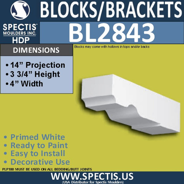 "BL2843 Eave Block or Bracket 4""W x 3.75""H x 14"" P"