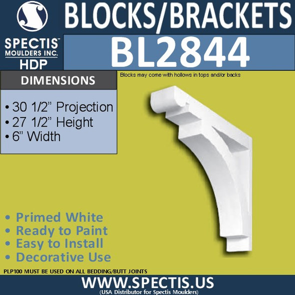 "BL2844 Eave Block or Bracket 6""W x 27.5""H x 30.5"" P"