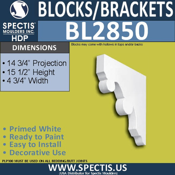 "BL2850 Eave Block or Bracket 4.75""W x 15.5""H x 14.75"" P"