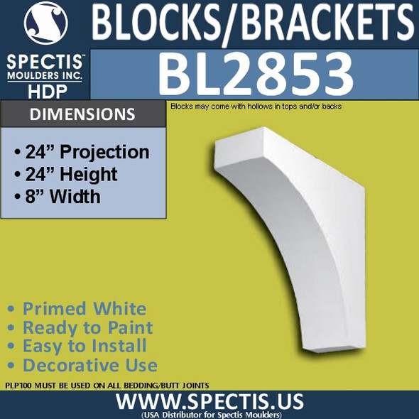 "BL2853 Eave Block or Bracket 8""W x 24""H x 24"" P"