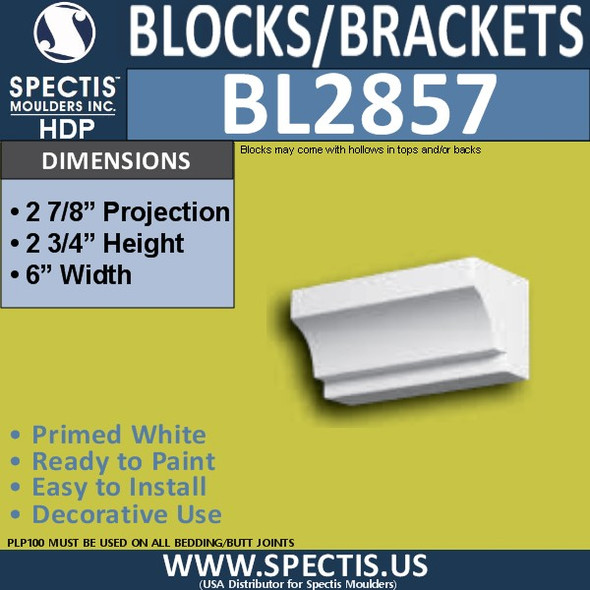 "BL2857 Eave Block or Bracket 6""W x 2.75""H x 2.9"" P"