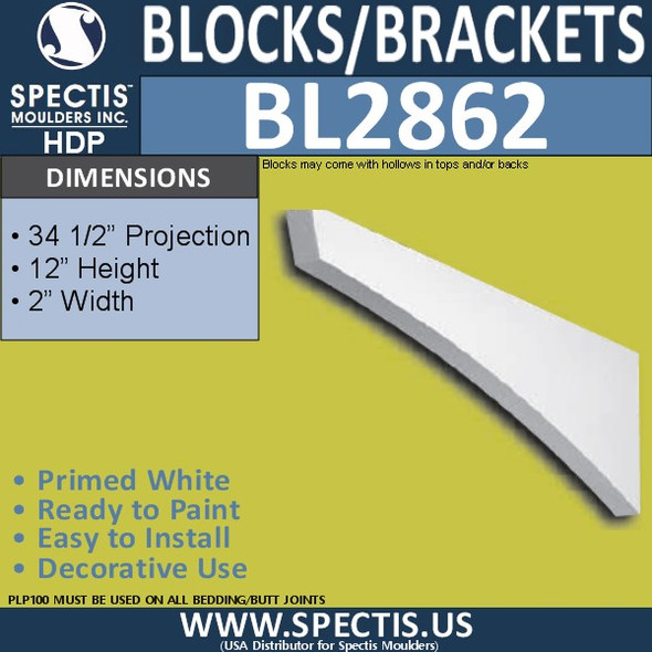 "BL2862 Eave Block or Bracket 2""W x 12""H x 34.5"" P"