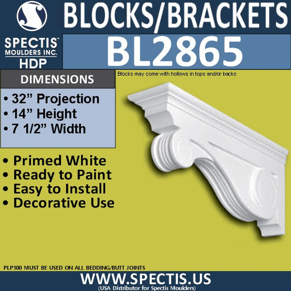 "BL2865 Eave Block or Bracket 7.5""W x 14""H x 32"" P"