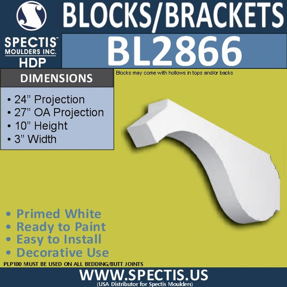 "BL2866 Eave Block or Bracket 3""W x 10""H x 27"" P"