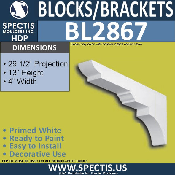 "BL2867 Eave Block or Bracket 4""W x 13""H x 29.5"" P"