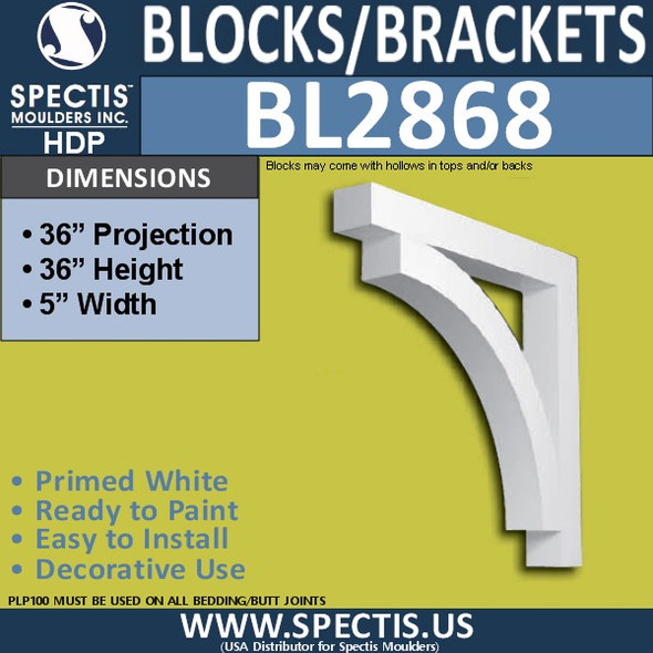 "BL2868 Eave Block or Bracket 5""W x 36""H x 36"" P"