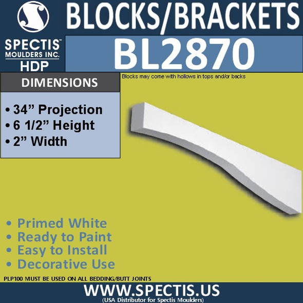 "BL2870 Eave Block or Bracket 2""W x 6.5""H x 34"" P"
