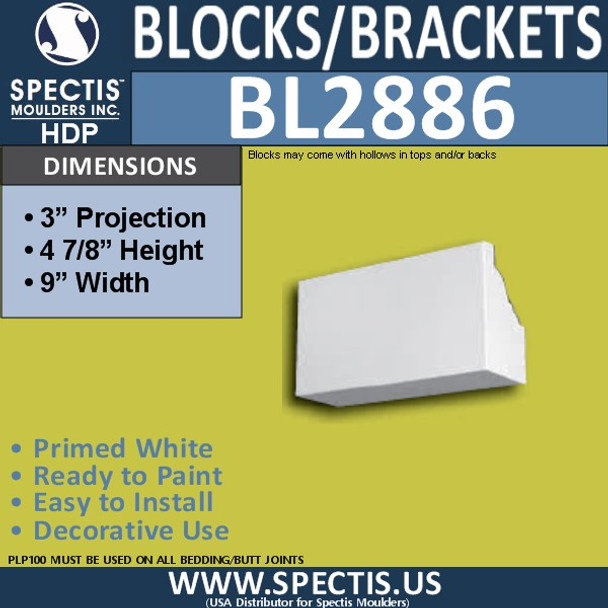"BL2886 Eave Block or Bracket 9""W x 4.9""H x 3"" P"