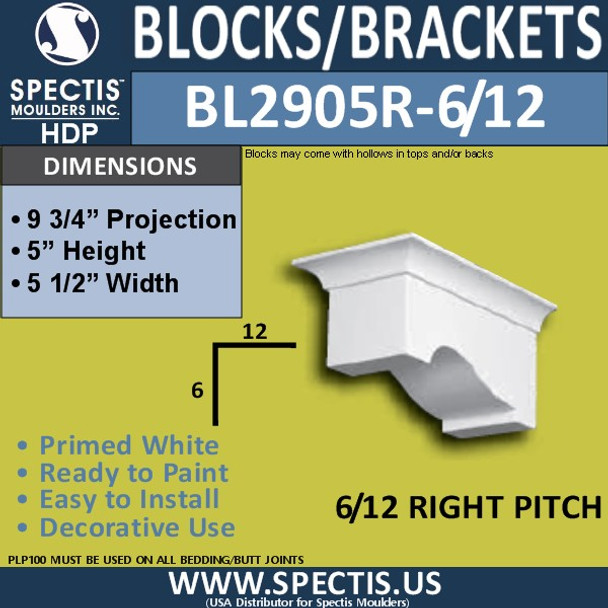 "BL2905R-6/12 Pitch Eave Bracket 6""W x 5""H x 9.75"" P"