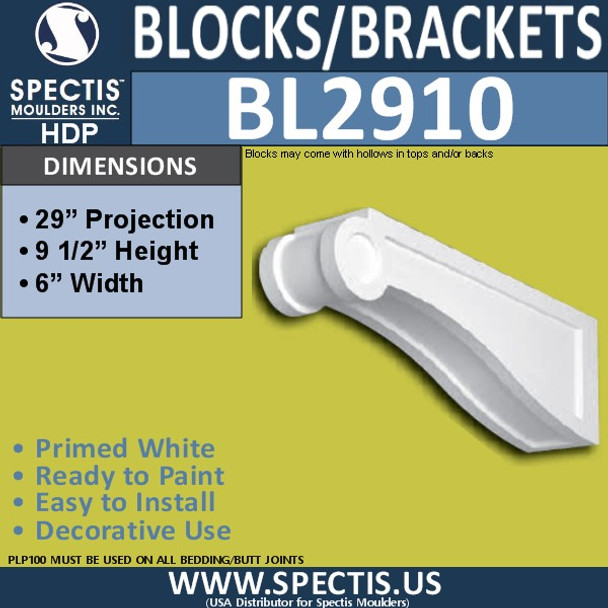 "BL2910 Eave Block or Bracket 6""W x 9.5""H x 30"" P"