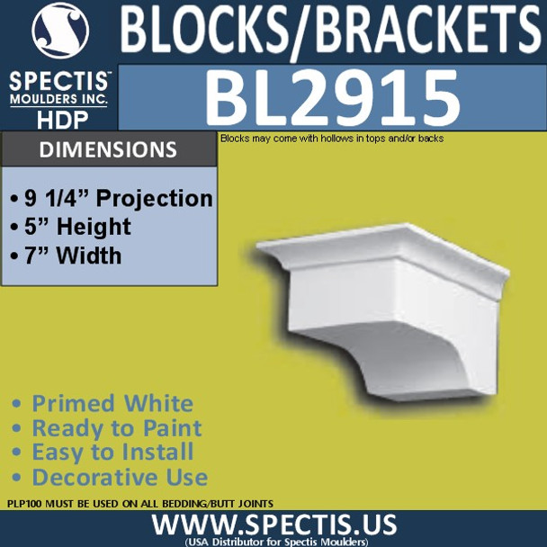 "BL2915 Eave Block or Bracket 7""W x 5""H x 9.25"" P"