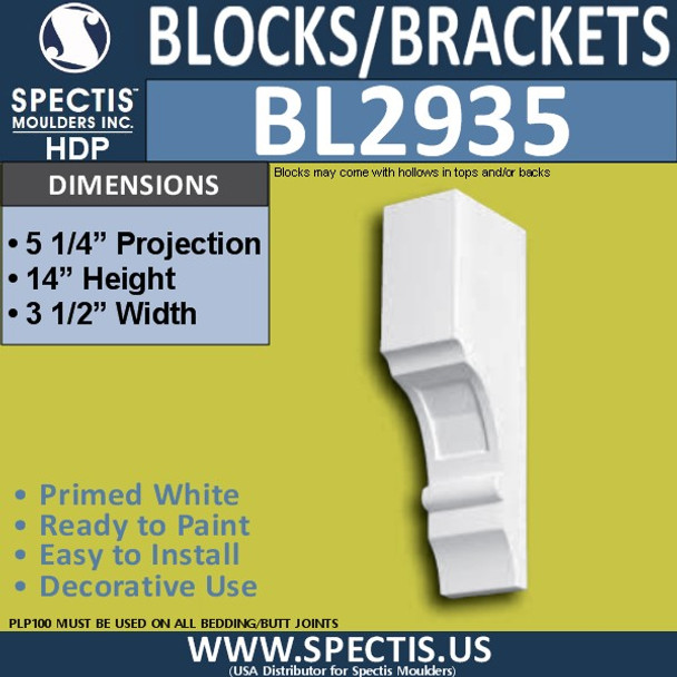 "BL2935 Eave Block or Bracket 3.5""W x 14""H x 5.25"" P"