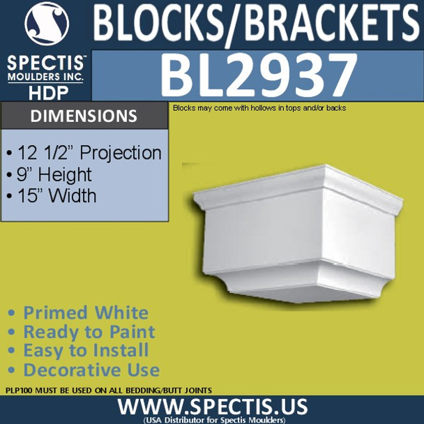 "BL2937 Eave Block or Bracket 15""W x 9""H x 12.5"" P"
