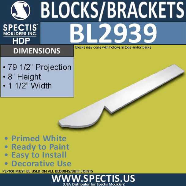 "BL2939 Eave Block or Bracket 1.5""W x 8""H x 85"" P"