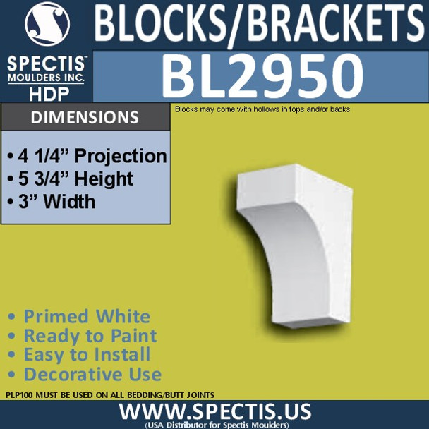"BL2950 Eave Block or Bracket 3""W x 5.75""H x 4.25"" P"
