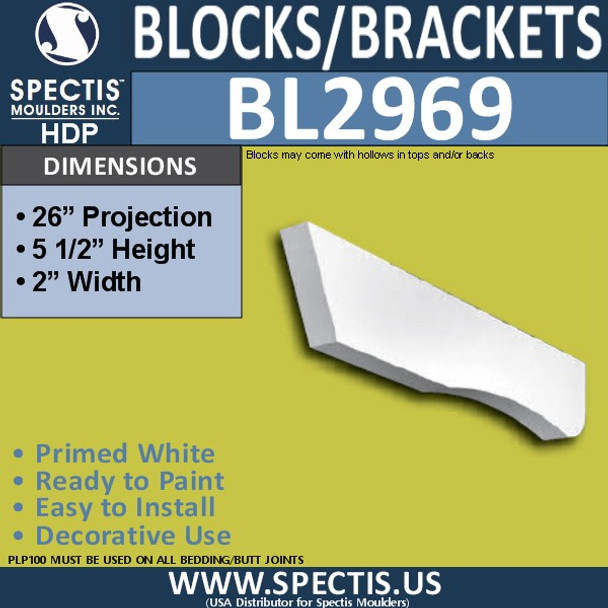 "BL2969 Eave Block or Bracket 2""W x 5.5""H x 26"" P"