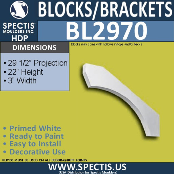 "BL2970 Eave Block or Bracket 3""W x 22""H x 29 1/2"" P"