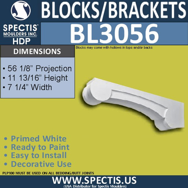"BL3056 Eave Block or Bracket 7.25""W x 11 13/16""H x 56 1/8"" P"