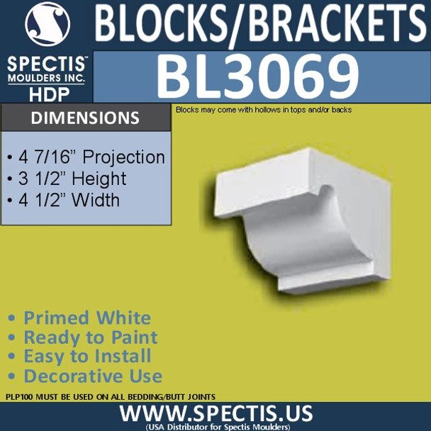 "BL3069 Eave Block or Bracket 4.5""W x 4.44""H x 3.5"" P"