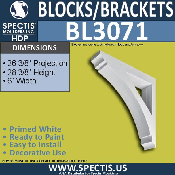 "BL3071 Eave Block or Bracket 6""W x 28.5""H x 26.5"" P"