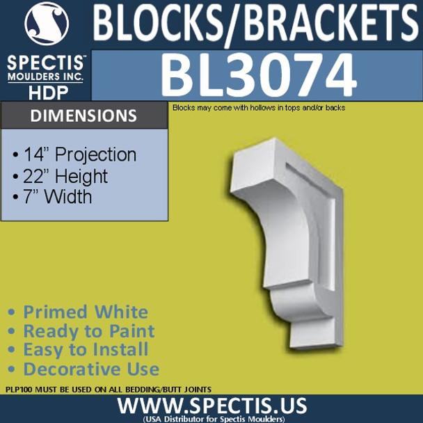 "BL3074 Eave Block or Bracket 7""W x 22""H x 14"" P"