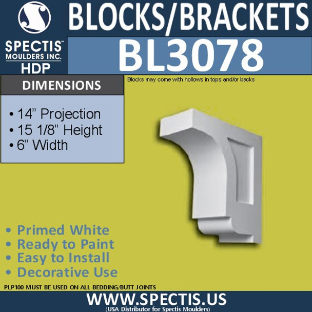 "BL3078 Eave Block or Bracket 6""W x 15.13""H x 14"" P"