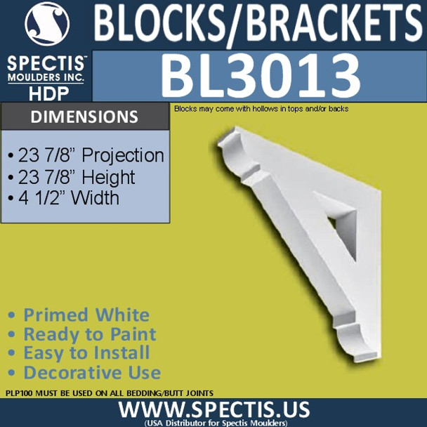 "BL3013 Eave Block or Bracket 4.5""W x 23.88""H x 23.88"" P"