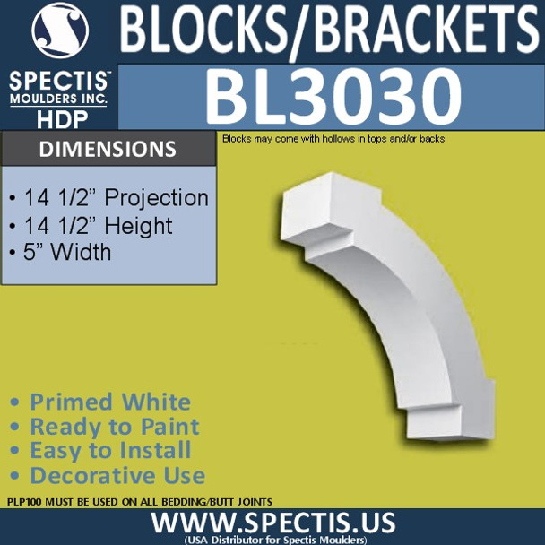"BL3030 Eave Block or Bracket 5""W x 14.5""H x 14.5"" P"