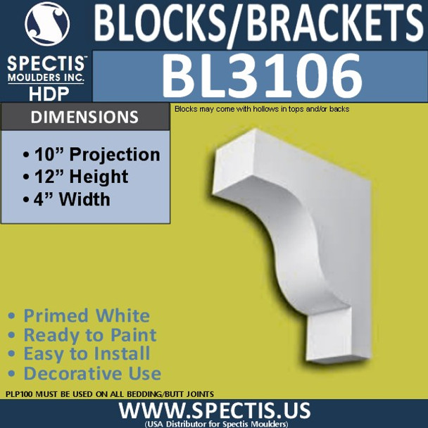 "BL3106 Eave Block or Bracket 4""W x 12""H x 10"" P"