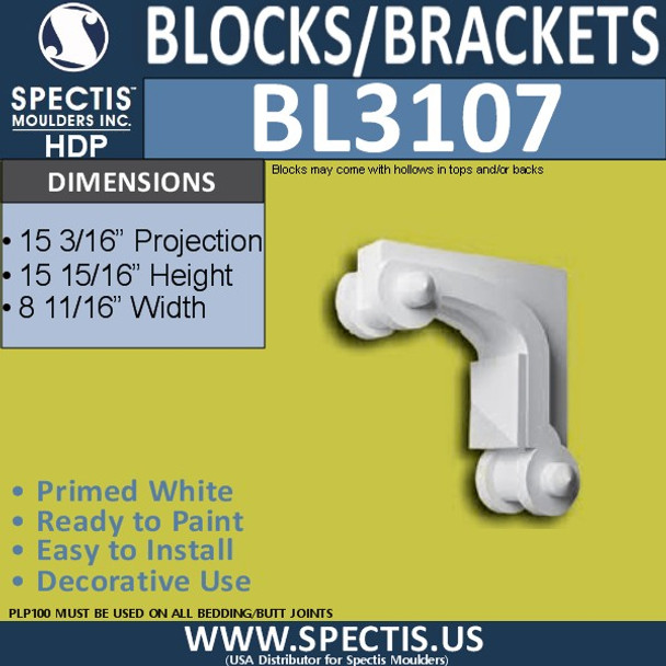 "BL3107 Eave Block or Bracket 8.69""W x 16""H x 26.33"" P"